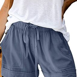 FEKOAFE Women Comfy Drawstring Casual Elastic Waist Cotton Shorts with Pockets (S-2XL)   Amazon (US)