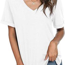 LONGYUAN Women's Summer Short Sleeve Vneck Tshirts Side Split Casual Tops Comfort Loose Fitting B...   Amazon (US)