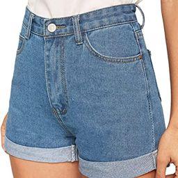 Milumia Women's Casual Mid Waist Rolled Hem Denim Jean Shorts with Pockets   Amazon (US)