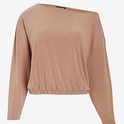 Silky Sueded Jersey Off The Shoulder Tee   Express