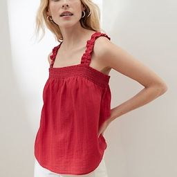 Embroidered Smocked-Neck Tank   Banana Republic Factory