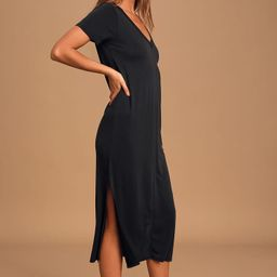 Keep Your Cool Washed Black Midi T-Shirt Dress | Lulus (US)
