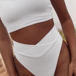 Aerie Waffle Crossover High Cut Cheeky Bikini Bottom | American Eagle Outfitters (US & CA)