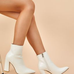 Croc Embossed Chunky Heeled Boots   SHEIN