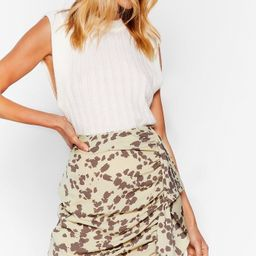 Cow Print Ruched Ruffle Mini Skirt | NastyGal