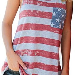 Womens American Flag Tank 4th of July T Shirts Patriotic Short Sleeve USA Tunic Summer Blouse Top...   Amazon (US)