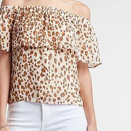 Metallic Leopard Off The Shoulder Top | Express