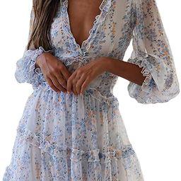 Happy Sailed Women Long Sleeve Ruffle Layer Backless Swing Mini Dresses | Amazon (US)