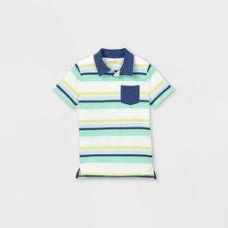 Boys' Short Sleeve Striped Knit Polo Shirt - Cat & Jack™ | Target