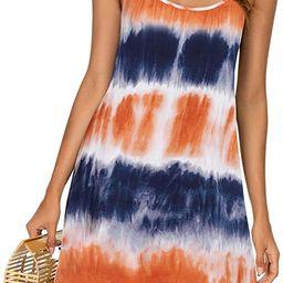 MSBASIC Women's Sleeveless Adjustable Strappy Summer Beach Swing Dress | Amazon (US)