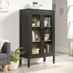 Sauder Anda Norr 2-Door Glass-fronted Wood Display Cabinet, Slate Gray Finish | Walmart (US)