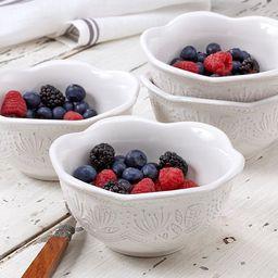 overandback Stoneware Antique Texture bowls, White, set of 4   Walmart (US)