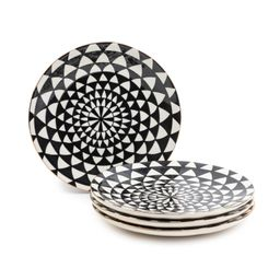 Thyme & Table Dinnerware Black & White Medallion Stoneware Dinner Round Plates, 4 Pack | Walmart (US)