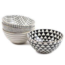 Thyme & Table Servware Black & White Assorted Stoneware Round Bowls, 4 Pack | Walmart (US)