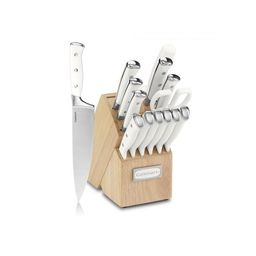 Cuisinart Classic Forged Triple Rivet 15-Piece Cutlery Set with Block, White and Stainless | Walmart (US)