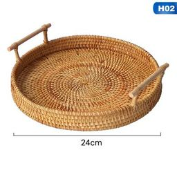 PWFE  Round Rattan Bread Basket Woven Serving Tray with Handles for Cracker Dinner Parties Coffee... | Walmart (US)