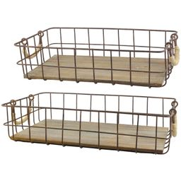 Generic Set of 2 Wire And Wood Baskets | Walmart (US)