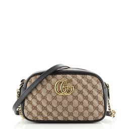 Gucci GG Marmont Shoulder Bag Diagonal Quilted GG Canvas Small Black 7750371   Rebag