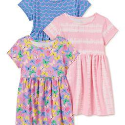 Wonder Nation Baby & Toddler Girls Organic Cotton Short Sleeve Knit Play Dresses with Pockets, 3-... | Walmart (US)