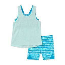 Athletic Works Girls Active Tank Top and Printed Bike Shorts, 2-Piece Active Set, Sizes 4-18 & Pl... | Walmart (US)