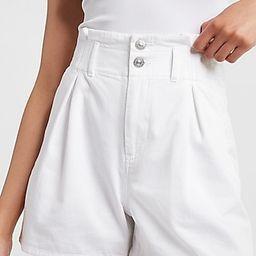 Super High Waisted Stretch Waistband Twill Shorts | Express