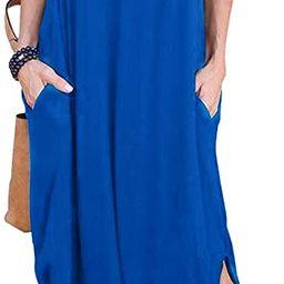 HUSKARY Women's Summer Maxi Dress Casual Loose Pockets Long Dress Short Sleeve Split | Amazon (US)