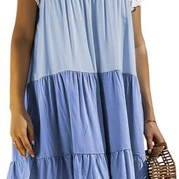 WEEPINLEE Womens Stitching Short Sleeve Round Neck Loose Dresses Casual Summer Dress   Amazon (US)