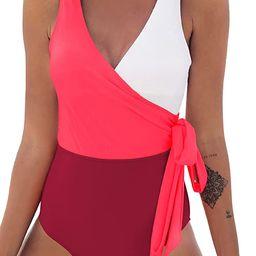 CUPSHE Women's One Piece Swimsuit Wrap Color Block Tie Side Bathing Suit   Amazon (US)