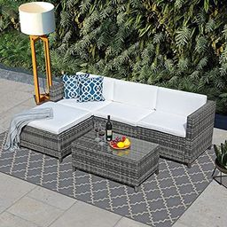 JOIVI Patio Furniture Sets, 5 Pieces All-Weather Outdoor Sectional Sofa Grey Wicker Rattan Patio ... | Amazon (US)
