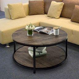 Round Coffee Table Rustic Vintage Industrial Design Furniture Sturdy Metal Frame Legs Sofa Table ...   Amazon (US)