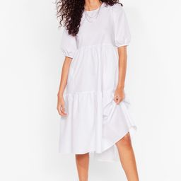 Puff Sleeve Crew Neck Tiered Midi Dress   NastyGal