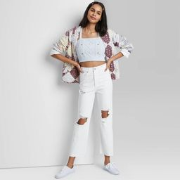Women's Super-High Rise Distressed Straight Jeans - Wild Fable™ White   Target