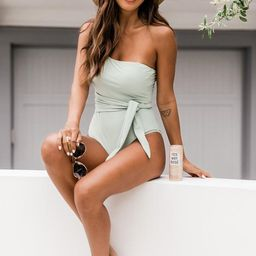 Sail The Coast One Shoulder Sage Swimsuit | The Pink Lily Boutique
