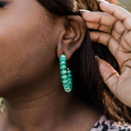 Already Gone Green Beaded Earrings | The Pink Lily Boutique