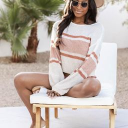 Style Icon Colorblock White/Salmon Sweater | The Pink Lily Boutique