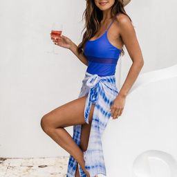 Seashell Shore Tie Dye Blue Sarong | The Pink Lily Boutique