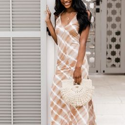 Dinner At Sunset Tie Dye Maxi Dress Taupe | The Pink Lily Boutique