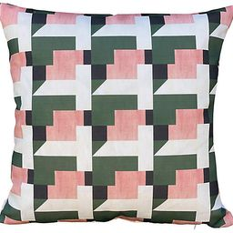 Esher 19x19 Outdoor Pillow, Blush/Olive   One Kings Lane