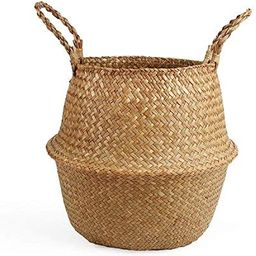 Amazon.com : BlueMake Woven Seagrass Belly Basket for Storage Plant Pot Basket and Laundry, Picni...   Amazon (US)