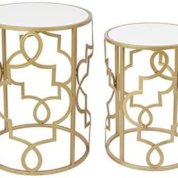 Gold&White Round Nesting Side End Tables Set of 2 in Wooden Top, Assembled Small Coffee Tables fo...   Amazon (US)