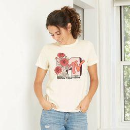 Women's MTV Floral Print Short Sleeve Graphic T-Shirt - Ivory   Target