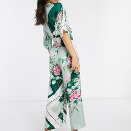 Liquorish satin wrap jumpsuit in floral print-Green | ASOS (Global)