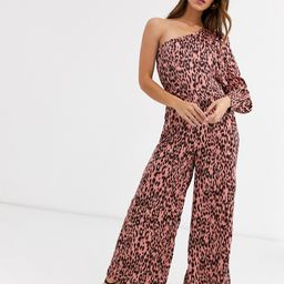 Unique21 satin one sleeve leopard print jumpsuit-Pink | ASOS (Global)