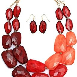 Rosemarie Collections Women's Ombre Polished Resin Statement Necklace Earring Set | Amazon (US)