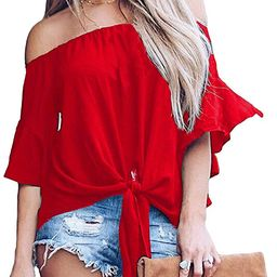 LuckyMore Womens Striped Off Shoulder Bell Sleeve Shirt Tie Knot Summer Blouses Tops | Amazon (US)