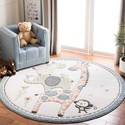 "Safavieh Carousel Kids Collection CRK120A Animal Nursery Playroom Area Rug, 6'7"" x 6'7"" Round, Iv... | Amazon (US)"