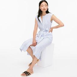 Tie-waist linen shirtdress in stripe | J.Crew US