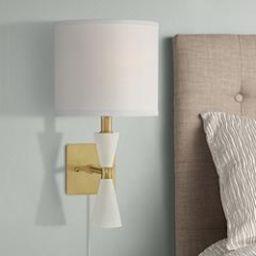 Scava Plug-In Modern Wall Lamp in Wood and Brass | www.lampsplus.com | LampsPlus.com