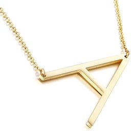 MOMOL Sideways Initial Necklace 18K Gold Plated Stainless Steel Large Big Letters Pendant Necklac... | Amazon (US)