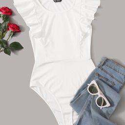 SHEIN Solid Ruffled Cheeky-Cut Bodysuit   SHEIN